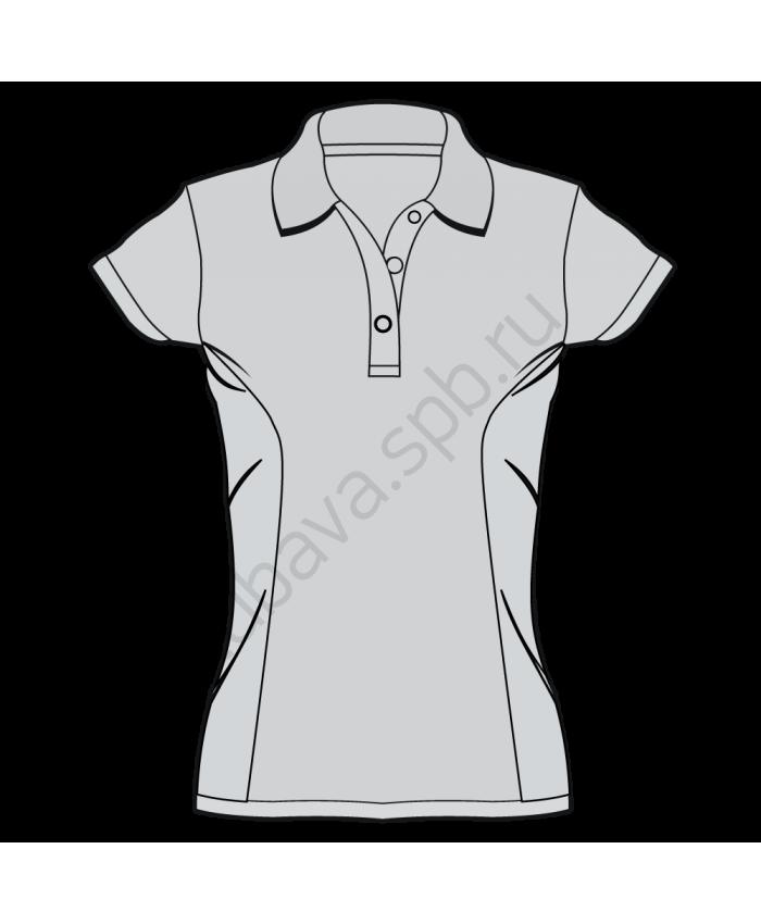 Поло женское с короткими рукавами и боковыми вставками