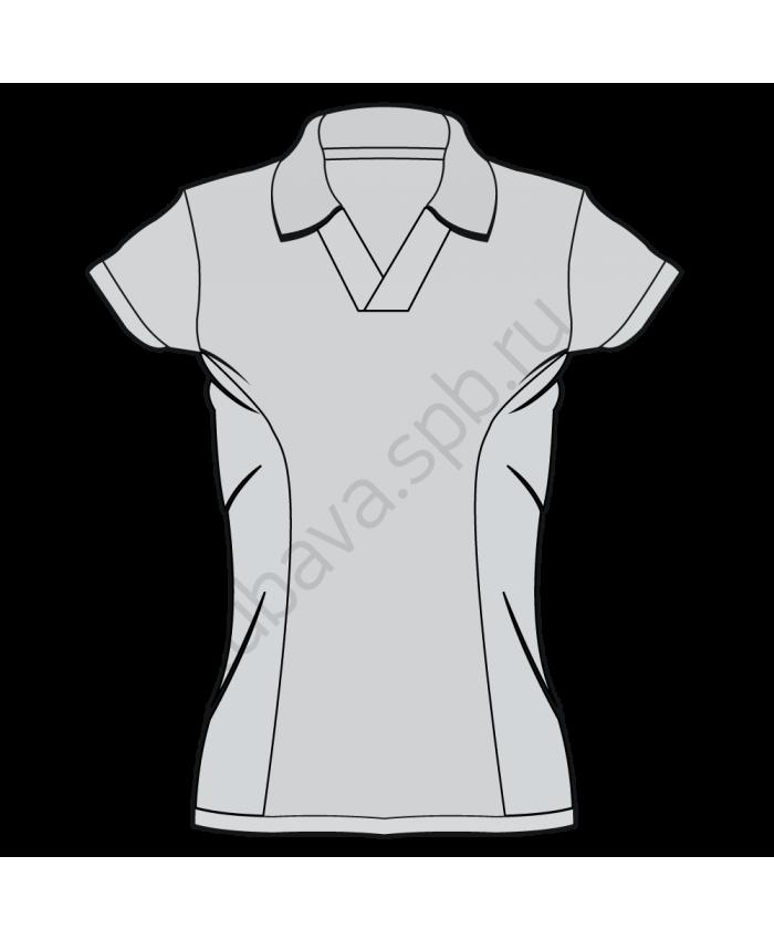 Поло женское короткий рукав со вставками без пуговиц